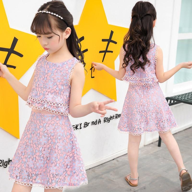 Elegant Design Trendy Kids Girl Lace Dresses 2 In 1 Part Summer Clothing Children Layered 2 Piece Dress Frocks For Girls 4- 12 Y