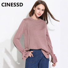 CINESSD Round Neck Pullover Sweaters Pink Bowknot Long Sleeve Women Casual Loose Elastic Tops Knitwear Solid Office Lady Sweater