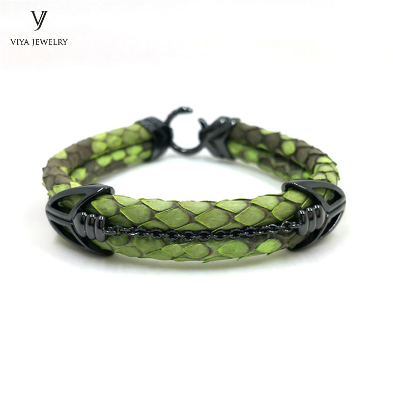 Luxury Green Python Men Leather Bracelet Black Arrow Clasp Python Leather Bracelet For Men High-end Customize Bracelet Gift
