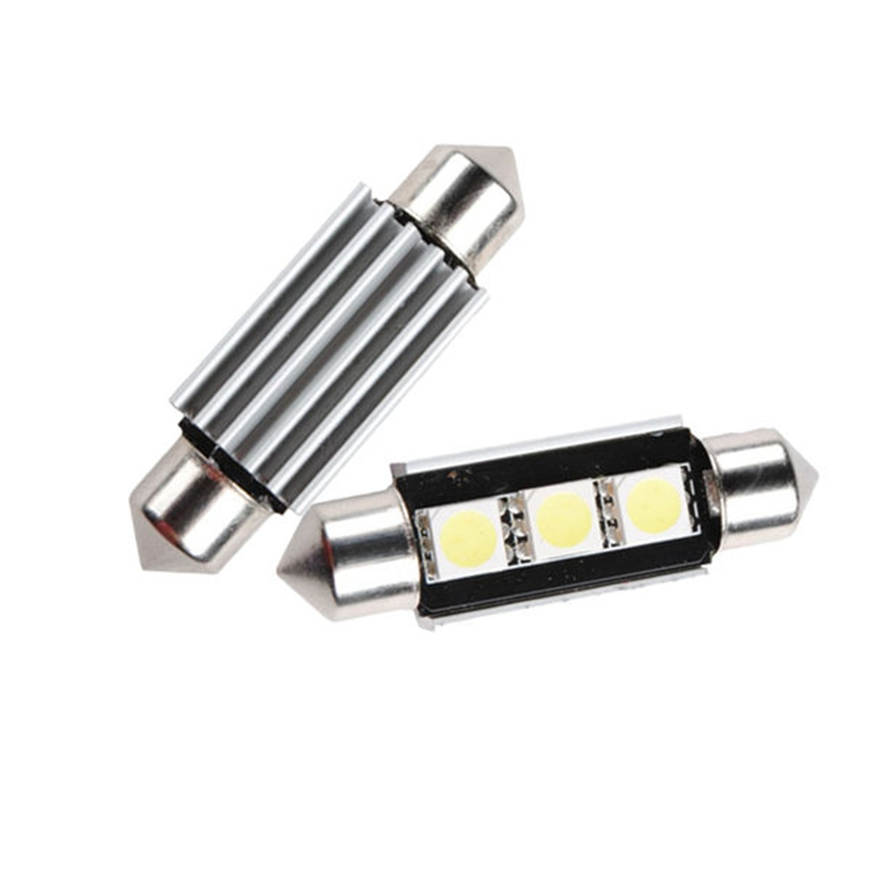 Car Lights 36mm 3 5050 SMD LED Festoon Light CANBUS Error Free c5w Car Auto Light Lamp Bulb DC 12V White b8 5 smd 5050 0 3w 12lm white light car instrument lamp white dc 12v 2 pcs