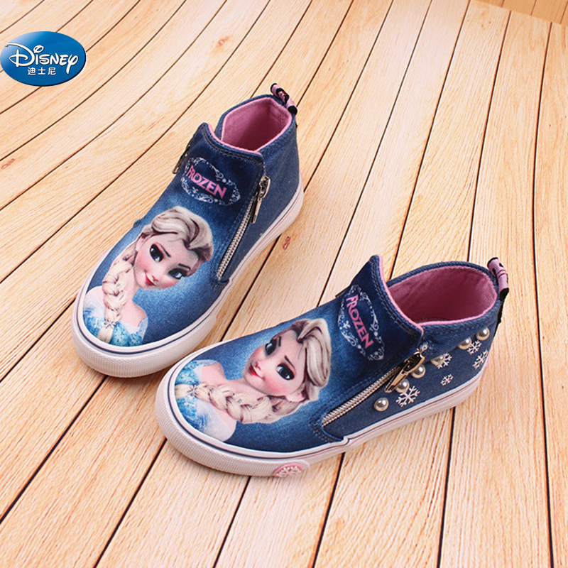 Frozen Children Casual Shoes High Zipper  Girls  Elsa Princess Cartoon Canvas Shoes Europe Size 25-36