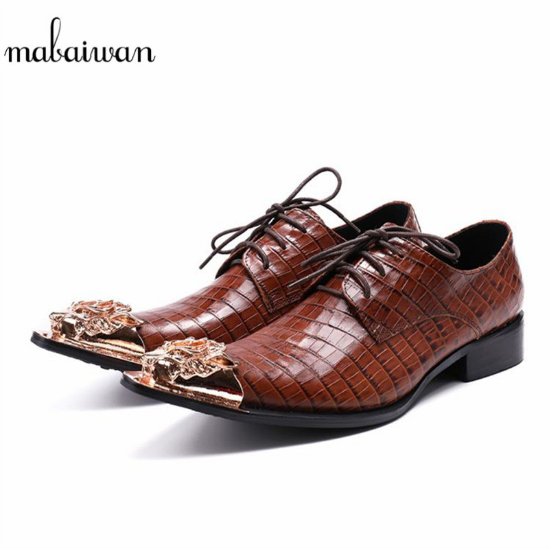 Mabaiwan 2018 New Fashion Men Shoes Leather Metal Pointed Toe Winter Wedding Shoes For Men Lace Up Flats Men Oxford Dress Shoes 2017 new spring imported leather men s shoes white eather shoes breathable sneaker fashion men casual shoes