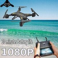 Rc helicóptero zangão com câmera hd 1080 p wifi fpv selfie zangão profissional dobrável quadcopter 20 minutos de vida útil da bateria|Drones com câmera| |  -