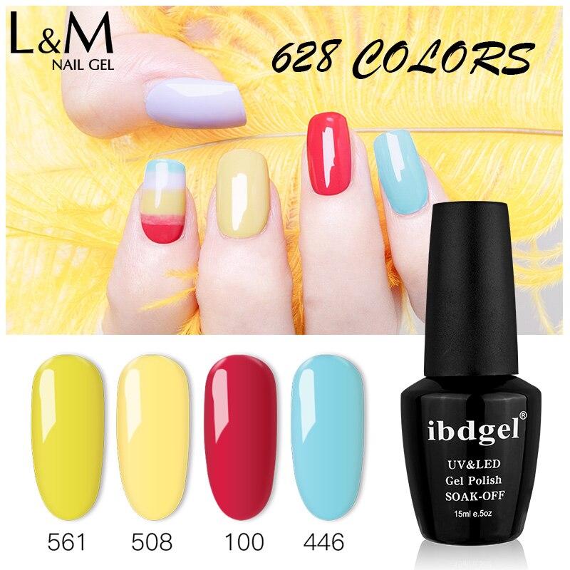 ibdgel Nail Gel Art Design Manicure 15ml Soak Off Gel Varnish Enamel Polish 628 Colors LED