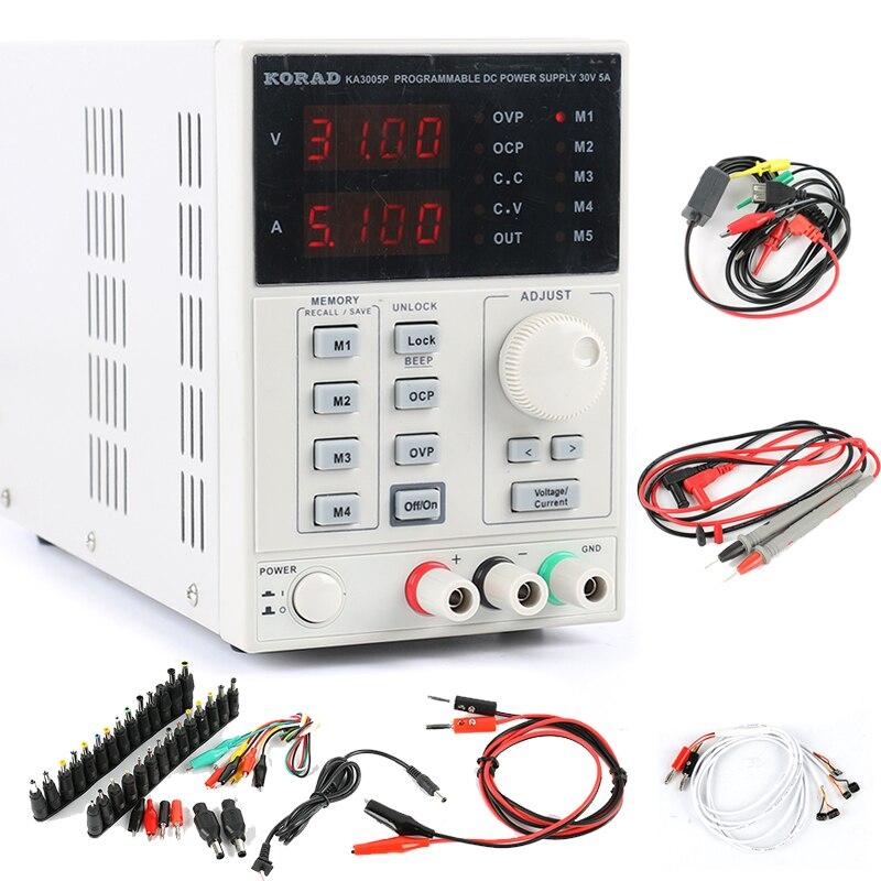 KORAD KA3005P Laboratoire de Précision Réglable Numérique Programmable DC Alimentation 30 V 5A USB RS232 + 39 pièces Ordinateur Portable AC DC Adaptateur de Prise