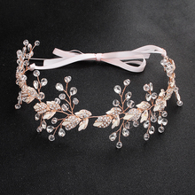 Women Beautiful Alloy Leaf Handmade Crystal Headband Vine Wedding Bridal Accessories Jewelry Headdress Rhinestones Pearls Hair