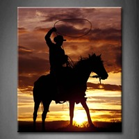 Unframed Wall Art Pictures Cowboy Horse Sunset Canvas Print Artwork Modern Animal Posters Without Frames For Decor