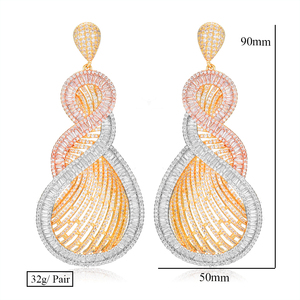 Image 5 - GODKI 90mm Luxury Tricolor Dangle Earrings Trendy Cubic Zircon Wedding Engagement Party Indian gold earrings for women 2019