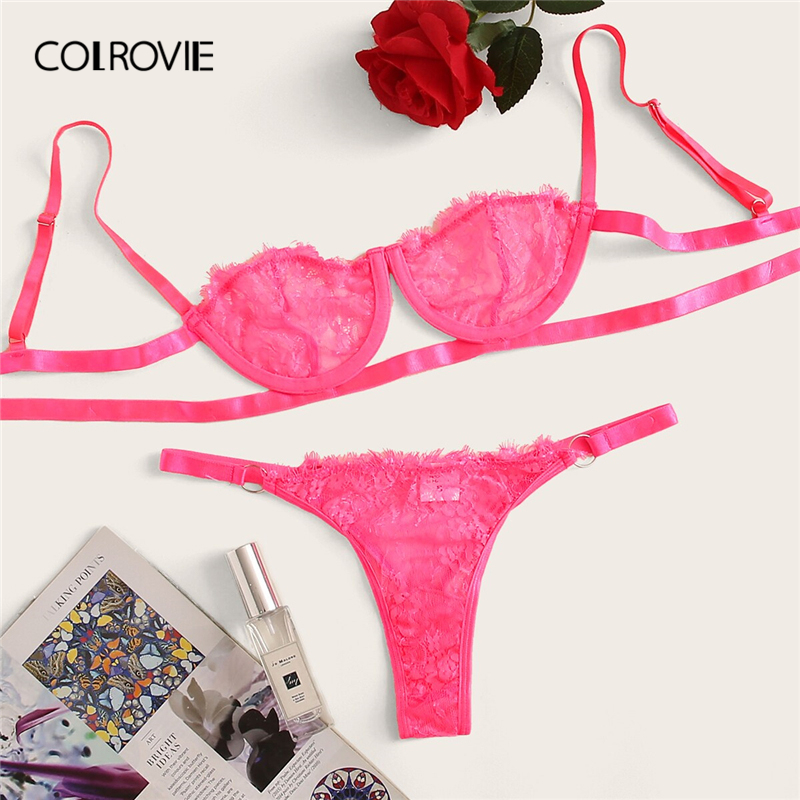 COLROVIE Neon Pink Floral Lace Underwire Sexy Lingerie Set Women Intimates 2019 Lounge Bra And Thongs Female Underwear Set