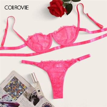 5d000629960f Conjunto de lencería Sexy de encaje Floral de color rosa de neón COLROVIE  conjunto de lencería de mujer Intimates 2019 salón sujetador y tangas  conjunto de ...