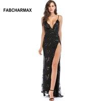 FABCHARMAX evening party black maxi dress spaghetti strap backless high slit women dress fashion elegant sequins slip long dress