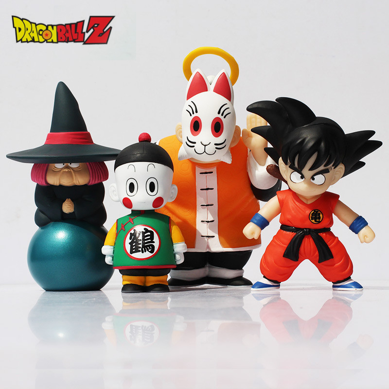 4pcs/lot Anime Dragon Ball Son Goku/Uranai Baba/Gohan/Chiaotzu Cute Action Figure Boy Gift Kids Toys Brinquedos 15cm +Retail Box anime dragon ball super saiyan 3 son gokou pvc action figure collectible model toy 18cm kt2841