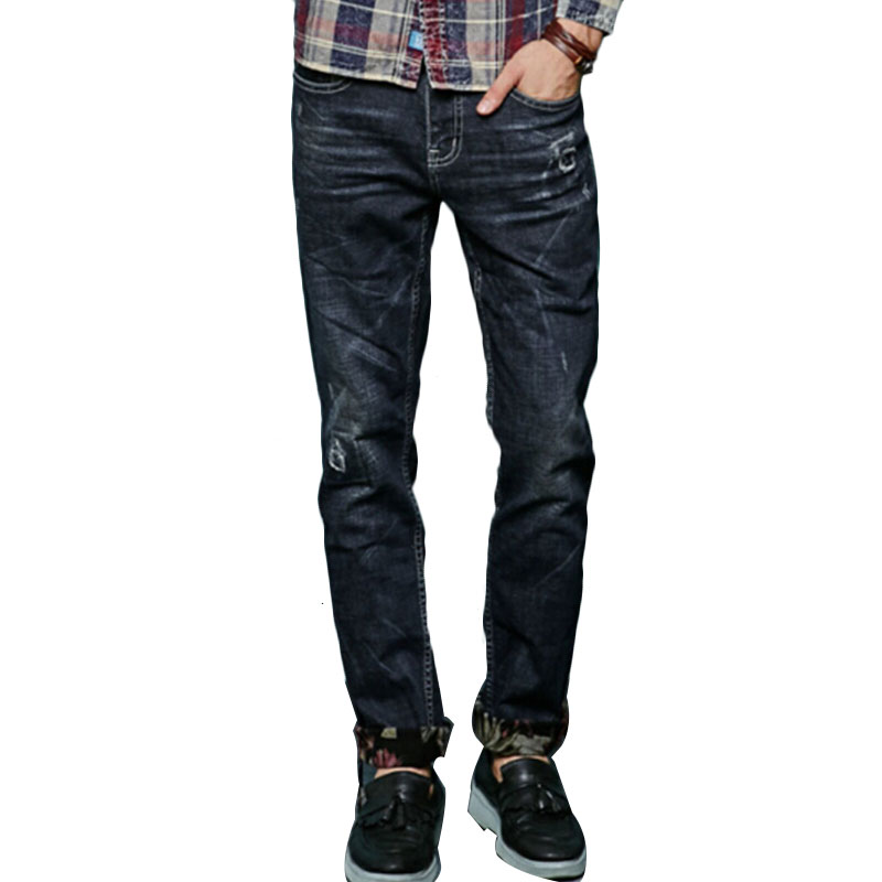 2017 New Spring English Young Black Casual Fashion Jeans Mens Slim Stretch Straight Pants Korean Style Pants Size 28 to 38