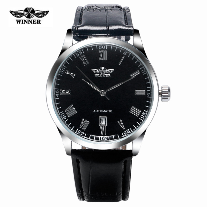 T-WINNER Men Aviator Self-wind Mechanical Watches Leather Band Fashion Day Date Classic Wrist Watch Men Military Clock 2017 New 2017 xinew brand luxury men s watch aviator white automatic mechanical date day leather band quartz wrist watch military clock
