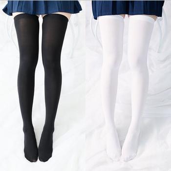 Athemis lolita cosplay pończochy czarny biały kolor tanie i dobre opinie ManManGuGu Cartoon Character Costumes Unisex Rayon Stałe Dla dorosłych stockings 25inch velvet