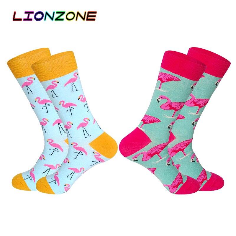 LIONZONE 2Pairs/Lot New Colored Mens Happy Socks with Flamingo Zebra Wedding Gift for Men Unisex Couple Art Cotton Socks Funny