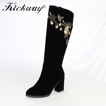 Kickway New Plus size 32-43 Women boots Autumn Winter High Knee boots Sapatos femininos High heels Flock Zipper Black round toe