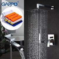 GAPPO Shower Faucets Bath Tap Mixers Rainfall Shower Set Wall Mounted Shower Seats Bath Bench Bathroom