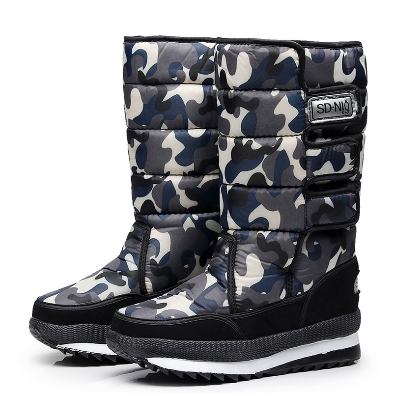 2019 Men Boots platform snow boots for men thick plush waterproof slip-resistant winter shoes Plus size 34 - 47 5