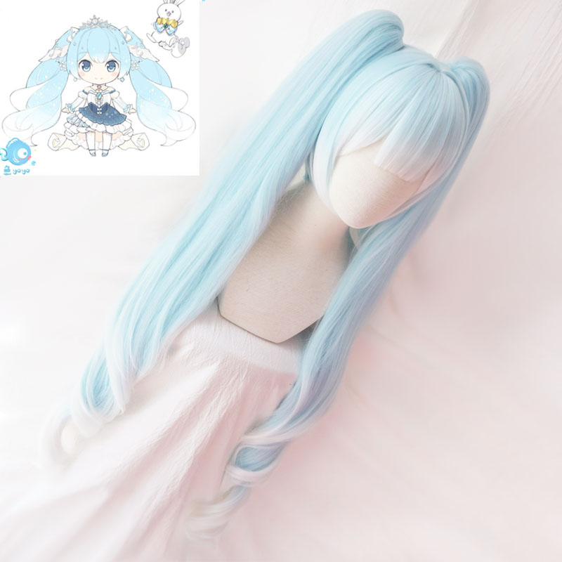 Image 2 - 2019 Snow Miku Cosplay Wig VOCALOID Hatsune Miku 120cm Long Pigtails Light Blue Synthetic Hair for Adult-in Game Costumes from Novelty & Special Use
