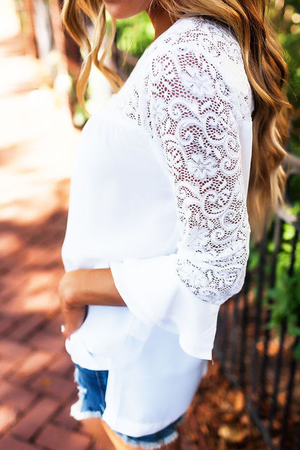 White Lace Women T Shirt Tops 1