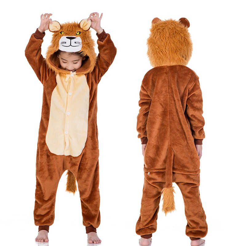 Novo bebê menina pijamas pijamas crianças animal leão macacão unicórnio pijamas para o menino traje de halloween para crianças kigurumi macacão