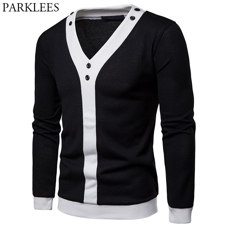 Black White Patchwork Knitted Sweater Men Casual Slim Fit V Neck Pullover Sweaters Preppy Business Work Button Sueter Hombre XXL