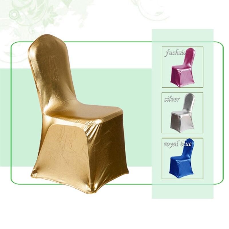 ∞100 unids/lote bronceado Fundas para sillas banquete elástico oro ...