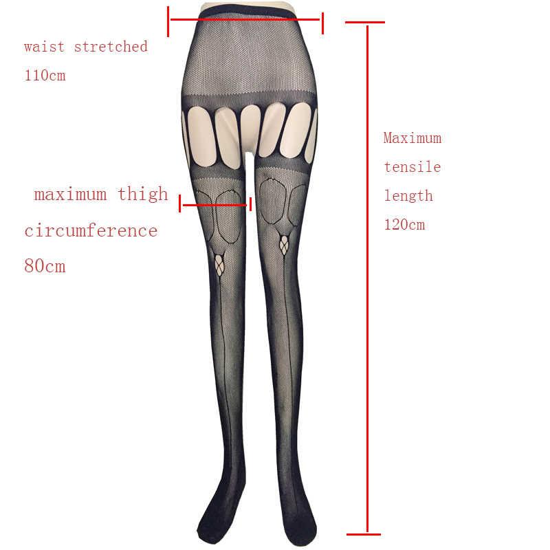 Seksi Çorap Kadın Hollow Out Tayt Dantel Uyluk Yüksek Fishnet Nakış Açık Kasık Külotlu Kadın Siyah Dantel Çorap SW009