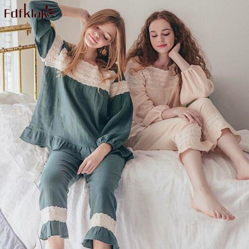 Fdfklak Korean Style Cotton Pajamas For Women Autumn Winter Pyjamas Set Homewear Sleepwear Clothes Student's Pijama Pyjama Femme