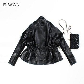 Kurtka skórzana kożuch płaszcz wiosna jesień 2019 Plus Size prawdziwa skórzana kurtka czarny kobiet kurtki damskie Lady skórzane kurtki