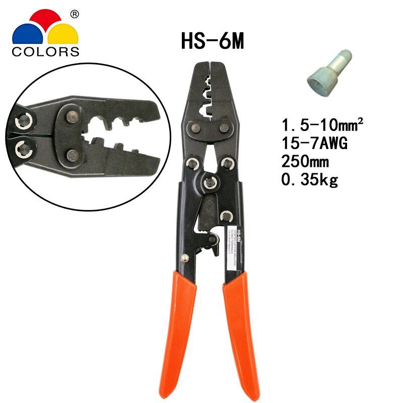 Japanischen Stil Kapazität 1,5-10mm2 15-7awg Elektrische Werkzeuge für Isolierte Geschlossen Terminal Sonderabschnitt Hd-6m Crimpen Zange Für Crimpen Kappe