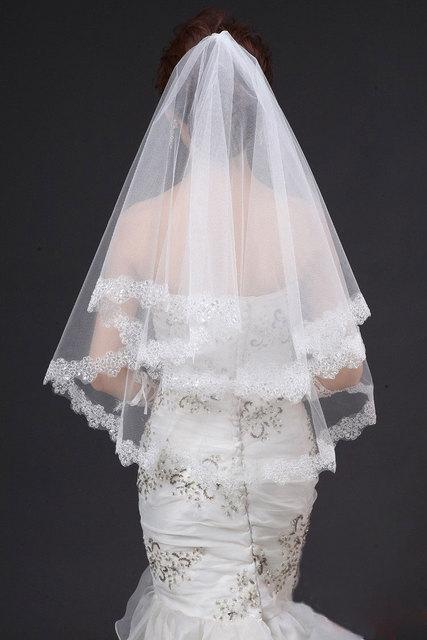 Fashion Veil Bride Veils One-Layer Tulle veu de noiva Short wedding veils bridal accessories Beaded Crystal  lace bridal veil