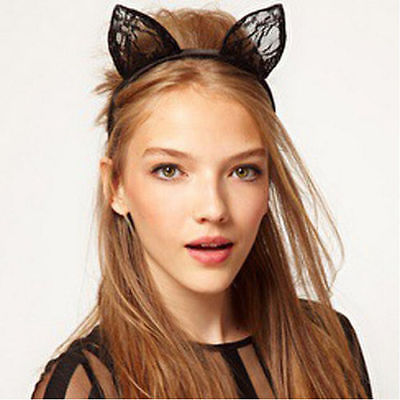 Apparel Accessories Trend Mark Hot Sale Lace Cat Ear Hairband Fashion Kids Girls Lovely Lace Cat Ear Headbands Headwear Hair Accessories At Any Cost Girl's Accessories