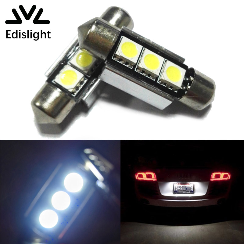 2x Super Bright LED Canbus No Error License Plate Light For VW Golf 3 4 5 6 Passat 3c B6 B5 Polo White Error Free Led 36mm B36  high quality plastic and led bulbs 2pcs white error free 18 led license plate light lamp kit for vw golf eos passat polo phaeton
