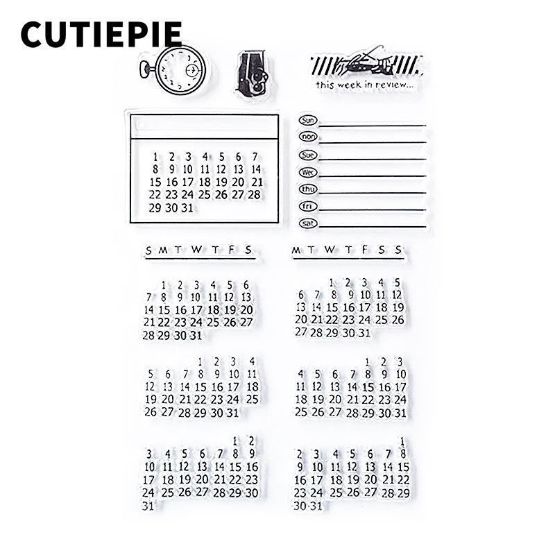 Calendar Rubber Transparent Clear Stamp DIY Silicone Seals for Scrapbooking/Card Making/Photo Album Decorative Supplies lovely bear and star design clear transparent stamp rubber stamp for diy scrapbooking paper card photo album decor rm 037
