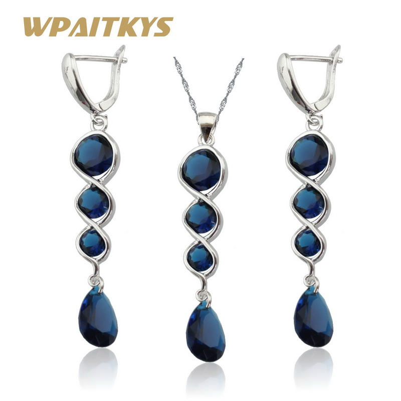 Jewelry & Accessories Wedding & Engagement Jewelry 2018 New Women Silver Jewelry Sets Flower Dark Blue White Semi-precious Necklace Pendant Extended Bracelet Ring Earrings