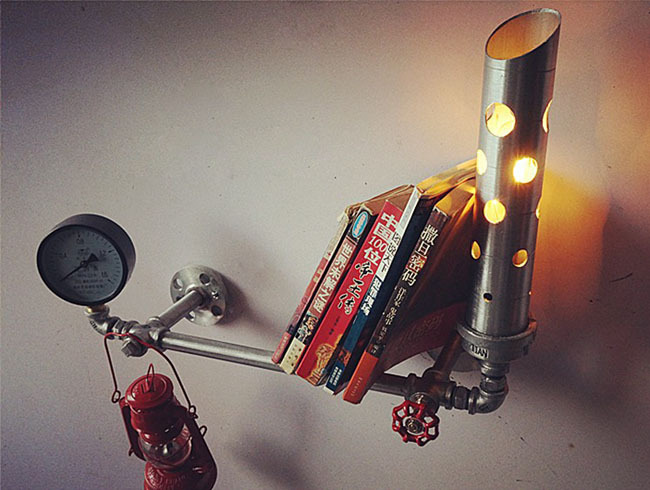 Vintage industry personality diy bookshelf water pipe wall lamp bedside robot lamp for coffe bar shop home decoration