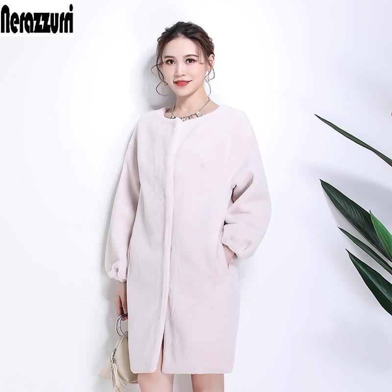 Nerazzurri Faux Fur Coat Women Drop Shoulder Thicken Warm Female Fake Sheared Mink Fur Jackets Plus Size Furry Outwear 6xl 7xl