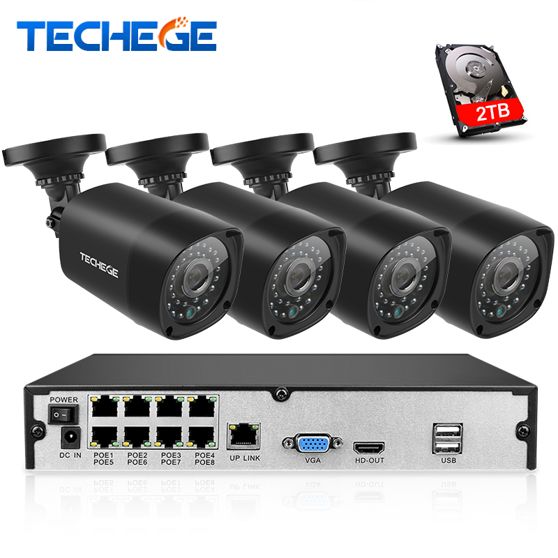 Techege Plug And Play 8CH NVR 48V POE CCTV System Onvif P2P 1080P HD H.264 Motion Detection Outdoor Security POE IP Camera Xmeye techege 4ch 8ch full hd onvif 1080p 48v real poe nvr all in one network video recorder for poe ip cameras p2p xmeye cctv system