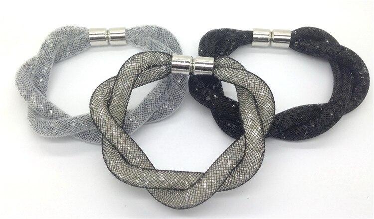 Cuff Bracelets & Banglets Full Crystal Popcorn Mesh Stardust Bracelets copper Magnet Clasp Trendy Fashion Jewelry