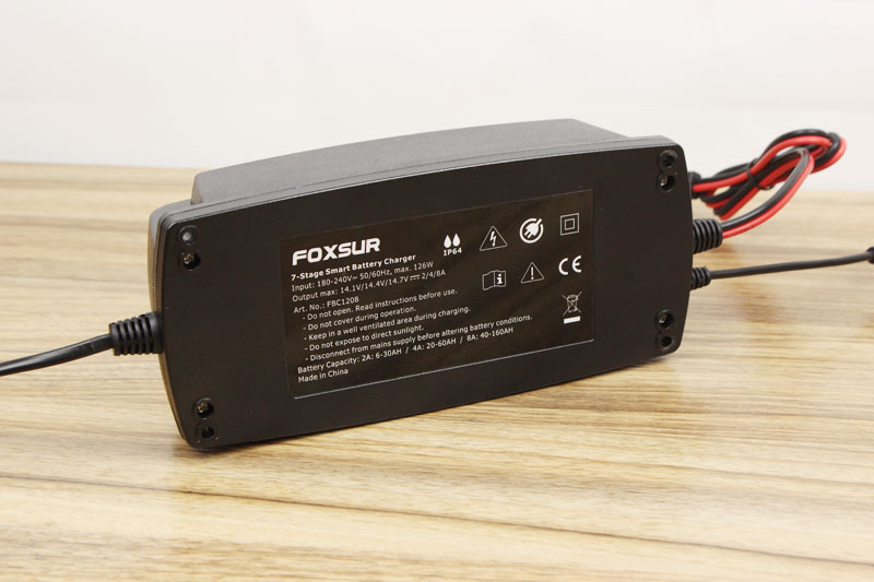 FOXSUR 12V 2A 4A 8A 7-stage Smart Battery Charger,Car Battery Charger  Maintainer & Desulfator For Lead Acid Batteries