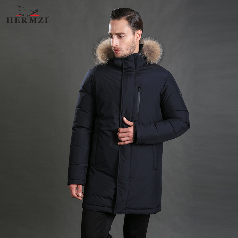 HERMZI 2018 New Men Down Coat Fashion Winter Down Jacket Long Parka Thicken 70% Duck Down Raccoon Fur Collar -30C Free Shipping