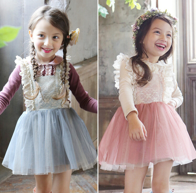 Baby Kids Cute Mesh Suspend Dresses Princess Girls Fairy Sweet Bow Dress Pink Ligth Blue 5 pcs/lo Wholesale