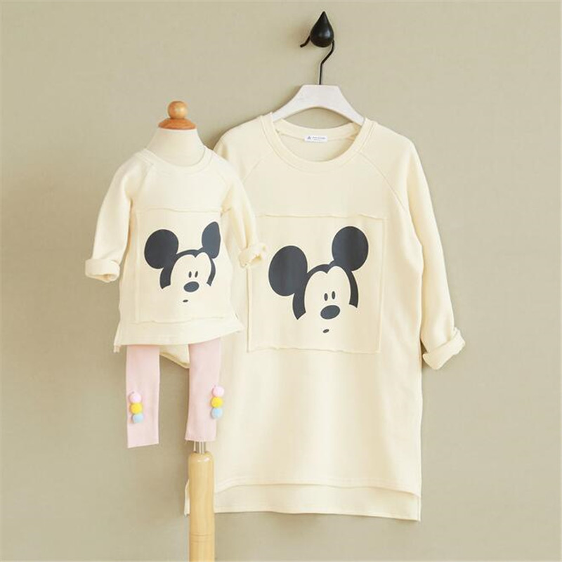 Autumn spring family clothes off white cotton round neck sweater for children solid color keep warm