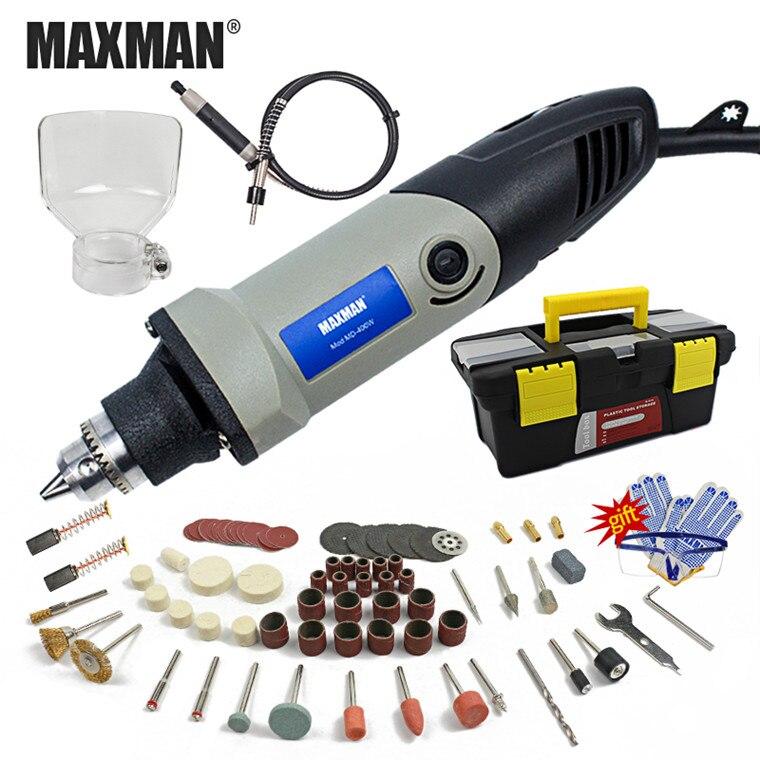 MAXMAN 220 В/110 В Электрический мини Цанговая инструмент Dremel 0.6 ~ 6.5 мм патрон переменная Скорость поворотный инструмент DIY Multi Мощность инструмент...