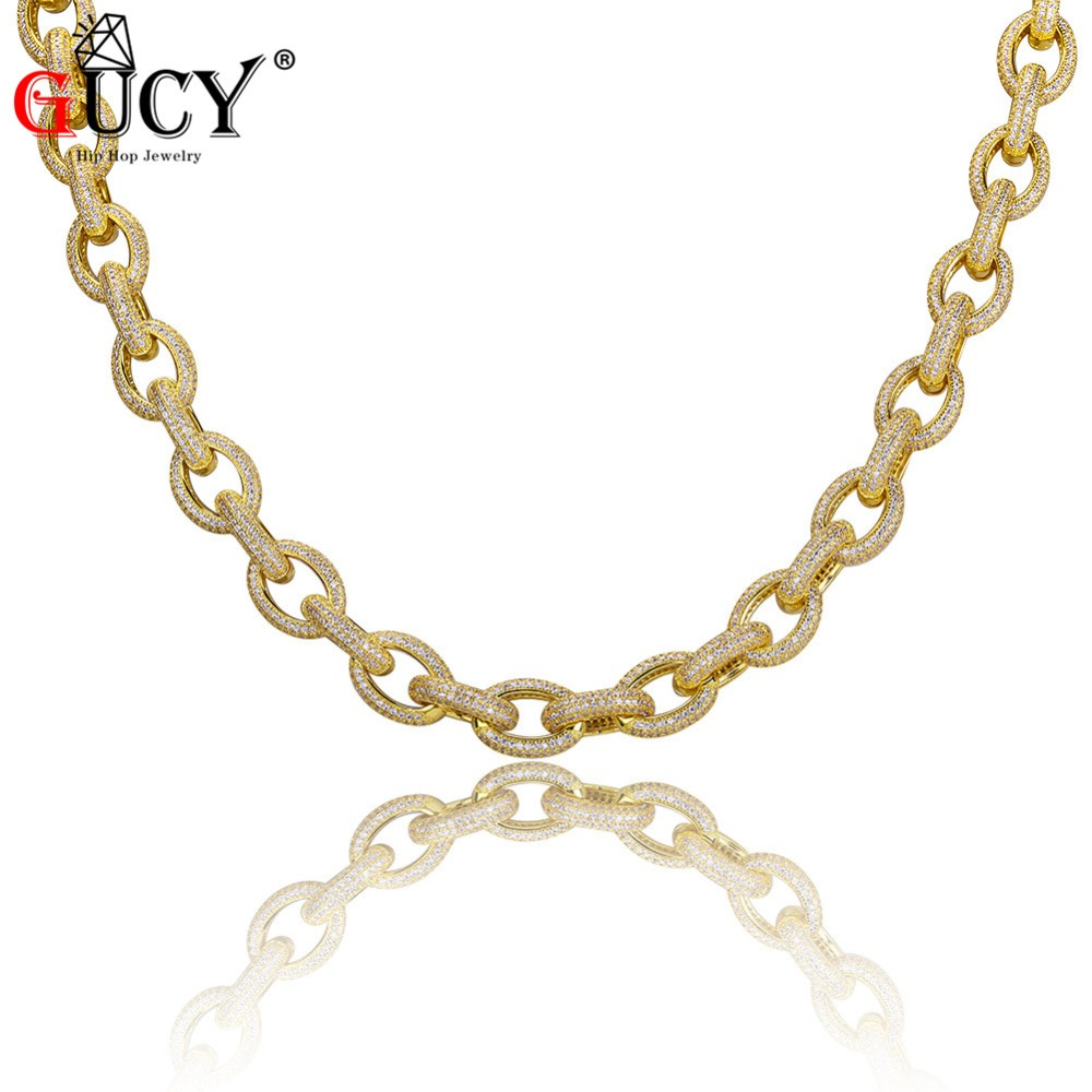 GUCY Hip Hop Men s Necklace Copper All Iced Out Gold Silver Color Plated Micro Paved