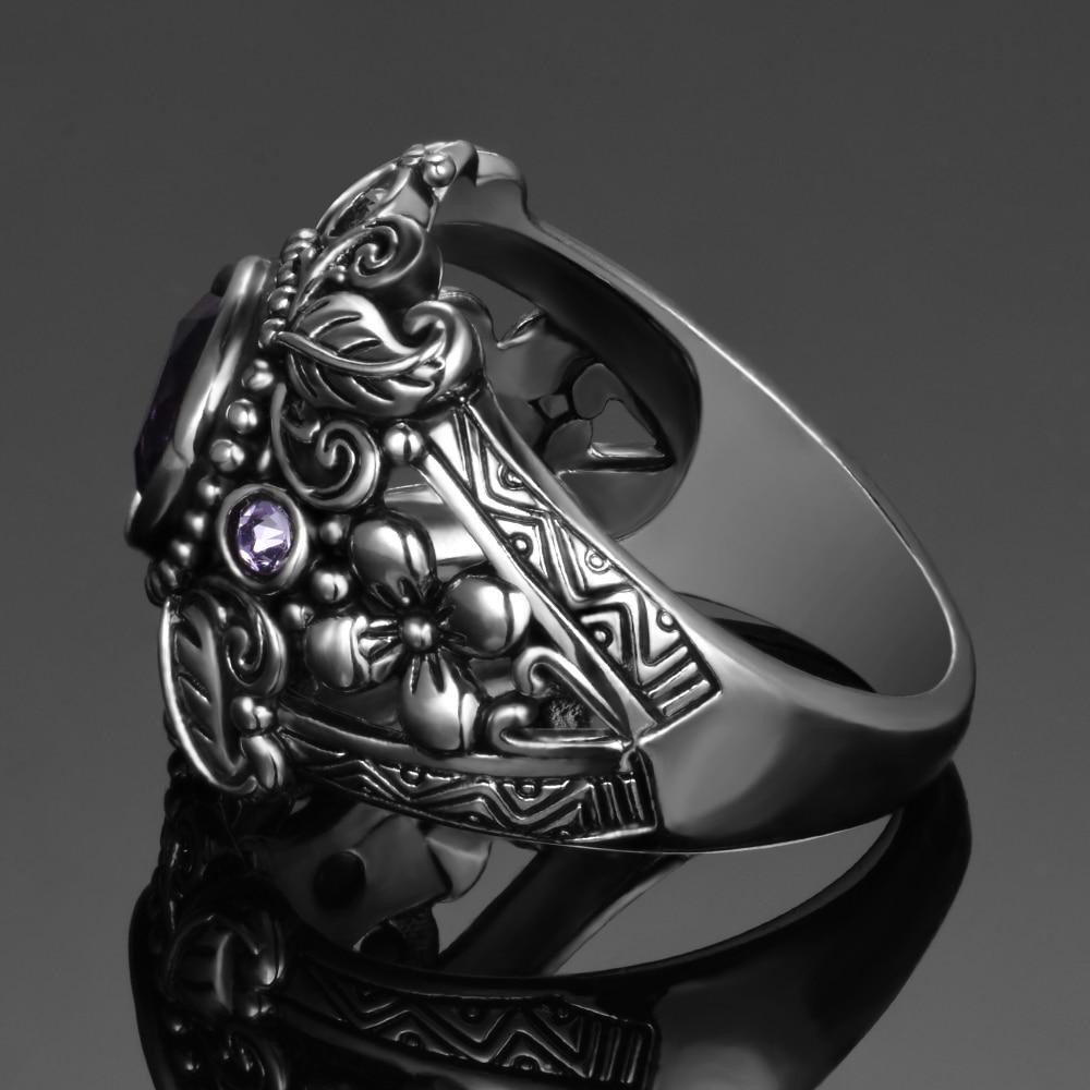 HTB1X5SAaNrvK1RjSszeq6yObFXa2 Vintage Jewelry 3ct Amethyst 925 Sterling Silver Ring Round Cut Purple Nature stone Women Wedding Anel Aneis Gemstone Rings
