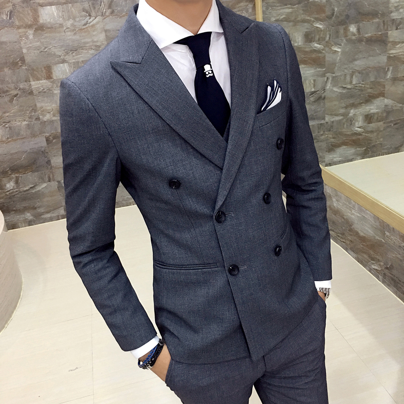 New Mens Fashion High-quality Cotton Pure Color Double-breasted Formal Wedding Dress Sui ...