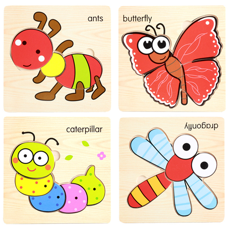 DDWE 3D Puzzle Jigsaw Wooden Toys Cartoon Animals Puzzles Baby Child Educational Toy For Children Toys Kids Play